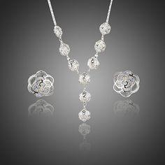 Crystal Jewellery Set Bridal Jewellery Set Stellux Austrian Crystal Necklace Set #Unbranded