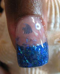 Blue Fish Nails - reminds me of an aquarium Water Nails, Sand Nails, Fish Nails, Aqua Nails, Nail Art Photos, Animal Nail Art, Blue Nail Designs, Mermaid Nails, Fabulous Nails