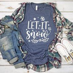 Let It Snow - Christmas Shirt - Winter Shirt - Snowflakes Mistletoe - Snow Shirt - Unisex Graphic Tee Source by Look t-shirt T Shirt Designs, Tees Graphiques, Teaching Shirts, Look T Shirt, Winter Shirts, Fru Fru, Vinyl Shirts, Team Shirts, Canvas Shirts
