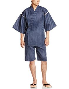 WABI-SABI men's Shijira Jinbei (Blue stripe)