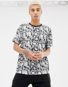 0bae374e ASOS DESIGN relaxed t-shirt in snakeskin print Asos Men, Snake Print, Men