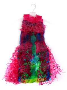 """Aviva Sawicki ~ """"Fused Dress I"""" (2011) Sculpture made from recycled plastic bags 47 x 27 x 2 in via Saatchi Art """"Using only plastic bags that she procures from her local supermarket in northern Israel, she hopes that her artworks 'remind us that we are a mainly consuming society and appeal to awareness of our environment.…"""" quote via interview: www.greenprophet.com"""