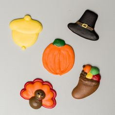 "1.5"" Royal Icing Thanksgiving Assortment – Wholesale Sugar Flowers Sugar Flowers, Royal Icing, Icing Decorations, Gluten Free, Thanksgiving, Desserts, Box, Products, Glutenfree"