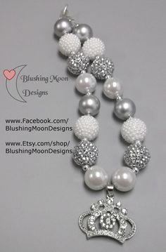 White Silver Rhinestone Crown  Bubblegum Necklace               (Matching Bracelet & Headband available)