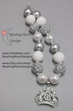 White Silver Rhinestone Crown  Bubblegum Necklace               (Matching Bracelet & Headband available)