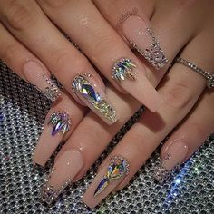 32 super cute nail art ideas for long nails in 2019 00133 com is part of nails - nails Rhinestone Nails, Bling Nails, Bling Nail Art, Bling Wedding Nails, Gem Nails, Nude Nails, Nail Gems, Dimond Nails, Jewel Nails