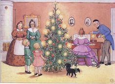 Celebrating Christmas from Aunt Brown, Aunt Green & Aunt Lavender (Tant Brunt, Tant Grön & Tant Gredelin) | Story & illustrations by Elsa Beskow