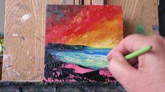 Easy Palette Knife Painting tutorial - Beach Sunset