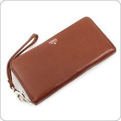 Fossil+Portemonnaie+Sydney+Zip+Clutch+Brown