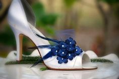 Navy Shoe Clips / Soldite Blue Flowers Bridesmaid by sofisticata, $40.50