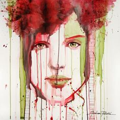 "Saatchi Online Artist: Rebekka Ivácson; Watercolor, 2011, Painting ""red and green"""