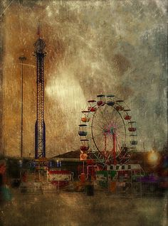 Houston Carnival Ferris Wheel by Jack Barnosky Street Gallery, Art Gallery, Houston Carnival, Circus Art, Brown Art, Amusement Park, Paper Background, Indian Art, Artsy Fartsy