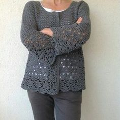 Fabulous Crochet a Little Black Crochet Dress Ideas. Georgeous Crochet a Little Black Crochet Dress Ideas. Crochet Cardigan Pattern, Crochet Jacket, Crochet Stitches Patterns, Crochet Shawl, Crochet Top, Crochet Waffle Stitch, Diy Crafts Crochet, Black Crochet Dress, Cotton Crochet