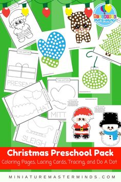 Christmas Coloring Pages, Lacing Cards, Tracing, and Do A Dot Preschool Pack I can't believe it's been a week into the last month of the year already! All too soon we will be celebratin… Christmas Activities For Kids, Preschool Christmas, Free Christmas Printables, Preschool Activities, Winter Activities, Free Printables, Christmas Colors, Christmas Art, Christmas Themes
