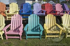 Rainbow colored wooden Maine chairs