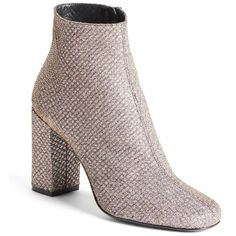 Women's Saint Laurent 'Babies' Block Heel Bootie ($845) ❤ liked on Polyvore featuring shoes, boots, ankle booties, metallic silver glitter, yves saint laurent booties, glitter ankle booties, wrap boots, block heel ankle boots and rock boots