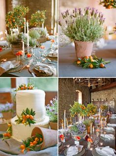 Tuscan themed table with terra cotta and lavender