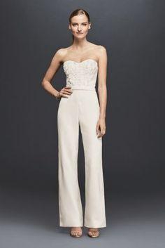 Strapless Crepe Jumpsuit with 3D Floral Details - Davids Bridal