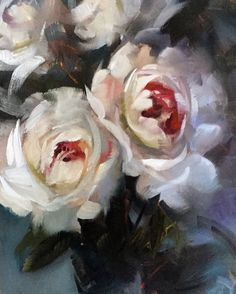 """""""Red Hearts"""" peonies oil on canvas by Trevor Waugh © trevorwaugh.com"""