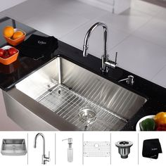 kraus stainless steel 30 inch farmhouse single bowl kitchen sink and chrome kitchen faucet with soap dispenser