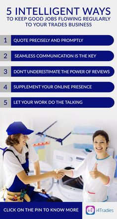 Sporadic work can be stressful for Trades business owners. Nonetheless, adopting a few smart ways of effectively dealing with customers Successful Business, Business Tips, Good Job, Software, Australia, Marketing, Board, Sign