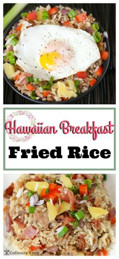 Hula at Home with Hawaiian Breakfast Fried Rice.  Loaded with sweet pineapple, yummy pork sausage, honey ham, crispy bacon and savory veggies.  Click to read more or Pin & Save for later!