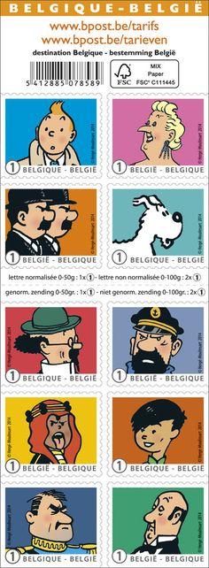 Tintin - timbres Belgique
