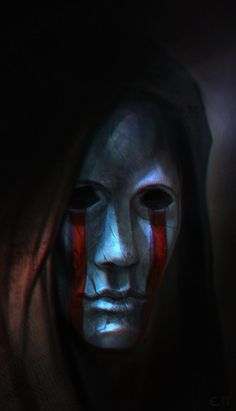 A silent, stone face peers from under a hood as crimson ribbons flow from its eyes Fantasy Drawings, Fantasy Artwork, High Fantasy, Dark Fantasy Art, Character Portraits, Character Art, Cyberpunk, Skyfall, Dungeons And Dragons Homebrew