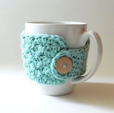 Super cute mug cozy...love the button! Made with single & double crochet stitches.