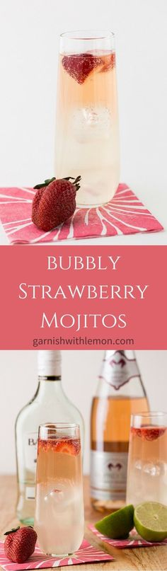 Bubbly Strawberry Mojitos – perfect for brunch!garnishwithle… Bubbly Strawberry Mojitos – perfect for brunch! Fancy Drinks, Cocktail Drinks, Cocktail Recipes, Refreshing Drinks, Summer Drinks, Non Alcoholic Drinks, Beverages, Smoothies, Strawberry Mojito