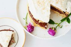 Nutella Short Layer Cake with Whipped Lemon Frosting by marshallsabroad #Cake #Nutella