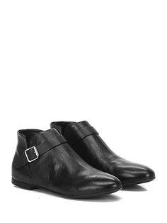 Halmanera - Tronchetto - Donna - Tronchetto in pelle con cinturino con fibbia su lato esterno, suola in cuoio. - NERO - € 184.43
