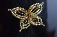 Yellow Butterfly Shaped Beaded Tembleque by LolaHoney21 on Etsy