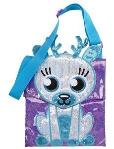 Justice Girls Lilac Sequin Critter Crossbody Purse Messenger Tablet Bag New | eBay