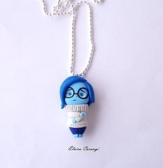 polymer clay sadness necklace, handmade pendant, inside out, pixar movie Polymer Clay Disney, Cute Polymer Clay, Cute Clay, Polymer Clay Dolls, Polymer Clay Charms, Polymer Clay Projects, Polymer Clay Jewelry, Disney Diy, Fandom Jewelry