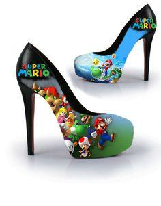 Super Mario Handpainted High Heels Pumps by ZeldaCrap on Etsy, $149.90