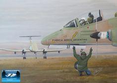 Argentinian jet preparing for take-off, Falklands War Military Art, Military History, Royal Australian Air Force, Falklands War, Armada, Aviation Art, War Machine, Military Aircraft, Warfare
