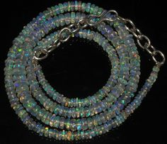 """35CRT 2-5 MM 17"""" STRAND NATURAL ETHIOPIAN WELO FIRE OPAL  BEADS NACKLACE- 57183"""