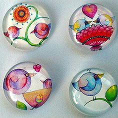 Bubble glass magnets featuring tiny prints of Hoopla {creations}' birds, original artwork by Nina Johnson. A perfect and inexpensive way to send a gift of love through the mail.