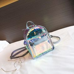 Holographic Pocket Front Clear Backpacks Fashion Mini Backpacks I have collected all kinds of transparent bags because they are very beautiful and I have bought many of them. Clear Backpacks, Cute Mini Backpacks, Backpacks For Sale, Mochila Galaxy, Mochila Nike, Guess Purses, Cute Purses, Cheap Purses, Clear Handbags