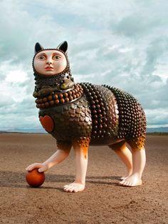 Whaaaat is this? Mexican Artwork, Man Beast, Digital Museum, Mexican Artists, Unusual Art, Arte Popular, Sculpture Clay, Indian Art, Cat Art