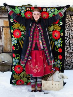 Bright colors and designs of traditional Scandinavian fabric.