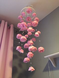 Craft pink choose colors felt flower mobile pink baby girl nursery garden hanging pearls crystals custom baby girl mobile bed canopy diy bed canopy kidsbed canopy ideasbed canopy with lightsbed cano Felt Roses, Felt Flowers, Paper Flowers, Diy Flowers, Fake Flowers Decor, Paper Flower Wall, Origami Flowers, Flowers Garden, Pink Roses
