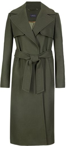 M&s Collection ButtonsafeTM Wool Blend Military Belted Long Overcoat with Cashmere