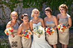 Champagne bridesmaid dresses this looks pretty too @J.Holt #sofun