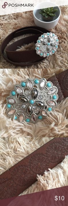 💟NWOT! Beautiful!! Juniors Size Belt NWOT!💟Juniors Size Brown Belt. Never worn. Beautiful Buckle Details featuring Turquoise, Gunmetal, & Diamond-like gemstones. Mandala design on entire length of belt. Small nicks on belt buckle (see 2nd pic) & on belt (see 3rd pic). Neither are noticeable and do not take away from the beauty of the belt itself. Size 13, Juniors. See pics for measurements. Reasonable offers are welcome ❌Lowball Offers ❌Trades ✅Bundle to save 10% on 3+ listings. Thank…