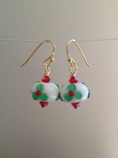 CHRISTMAS Holly Winter Holiday Drop earrings  lamp by besboutique