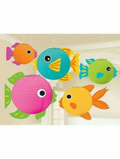 Fish Paper Lanterns Set the stage for a great summer party or luau with these beautiful paper wire frame fish lanterns that are perfect as hanging decorations Package includes 5 fish lanterns that measure 5 7 and Fish Lanterns, Paper Lanterns, Under The Sea Theme, Under The Sea Party, Summer Crafts, Crafts For Kids, Noahs Ark Theme, Paper Fish, Ocean Party