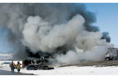 , on Monday, April 20, 2015. Crews worked Tuesday to reopen Interstate 80 in southeastern Wyoming wh... - Provided by Associated Press