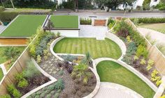 Garden With Curved Retaining Wall In Purbeck Stone, Dorset